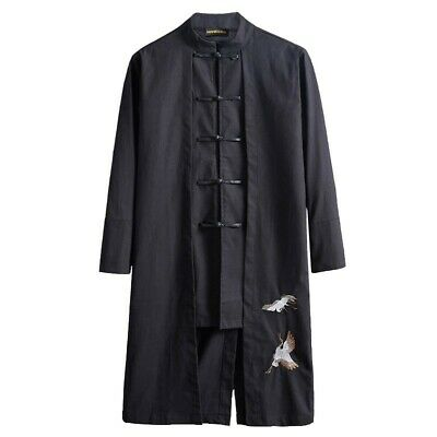 $64.38 • Buy Mens Chinese Style Tang Suit Trench Coat Mid Length Single Breasted Clothing L