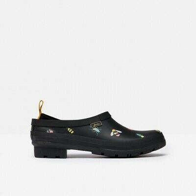 £38.95 • Buy Joules POP ON Ladies Womens Garden Outdoor Slip On Rubber Welly Clogs Black Bugs