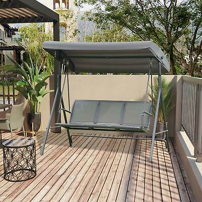 £129.99 • Buy 3 Seater Swing Chair Garden Hammock Canopy Patio Outdoor Bench Seat Olive Grey