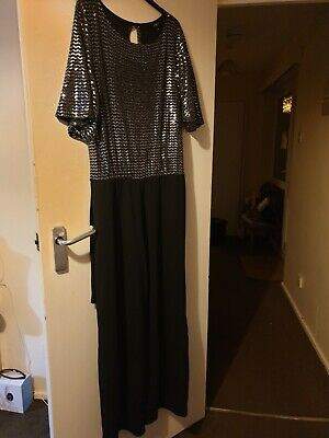 Party Silver Sparkling And Black Jumpsuit Size 18 • 7£