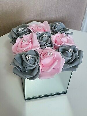 ARTIFICIAL Pink And Grey FLOWERS ARRANGEMENTS IN MIRROR CUBE GLASS VASE H14CM • 18.99£