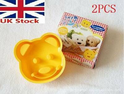 2x Yellow Teddy Bear Design Sandwich Toast Bread Making Cutter Mold With Box • 6.99£