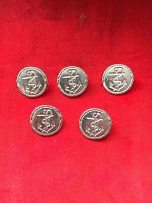 23mm FouledAnchor Pewter Button (5 Pack) - Re-Enactment, Costume, Living History • 3.25£