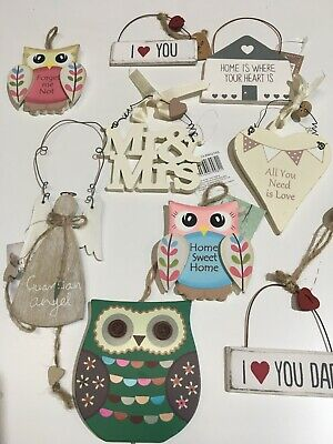 Wooden Metal Hanging Hearts Wedding Home Love Signs • 2.85£