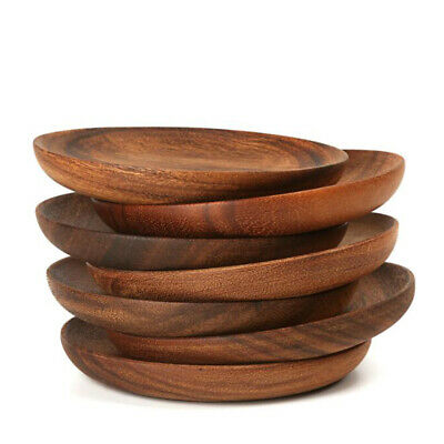 £4.46 • Buy Round Wooden Plate Serving Tray Natural Wood Fruit Food Dishes Platter Gift