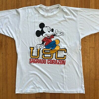 $ CDN31.56 • Buy VINTAGE MICKEY MOUSE T-SHIRT MEN SZ L PAPER THIN BUTTERY SOFT 50/50 RINGER 80s