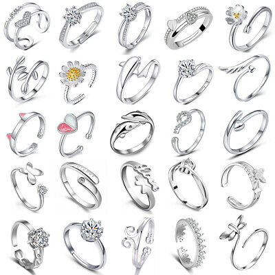 £2.59 • Buy Womens 925 Sterling Silver Rings Adjustable Thumb Wedding Engagement Gifts