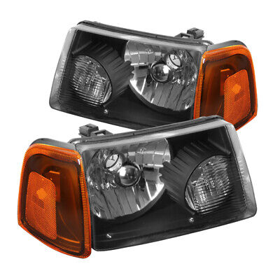 $71.99 • Buy For 2001-2011 Ford Ranger Black Head Lights+Corner+Bumper Signal Lamps Black