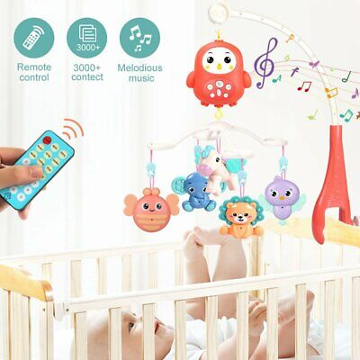 Baby Crib Mobile Musical Bed Bell With Controller Music Night Light Newborn Toy • 18.99£