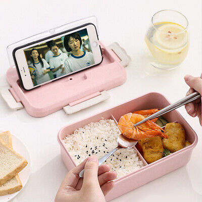 3 Compartments Lunch Box For Kids Adults Food Container Bento Storage Case Set • 6.89£