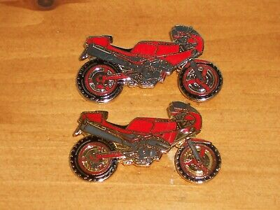 Rare Vintage Metal & Enamel 2 Different Gilera Motorbikes Motorcycle Pin Badges • 9.99£