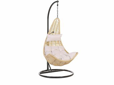 Boho Wicker Hanging Chair With Black Stand Swing Seat Beige PE Rattan Atri • 559.99£