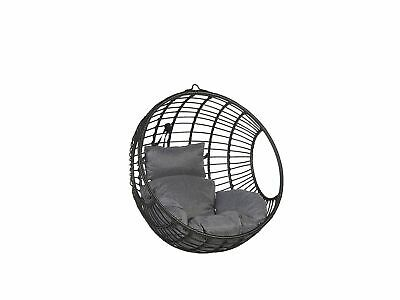 Boho Rattan Hanging Chair Without Stand Indoor-Outdoor Wicker Round Black Aspio • 429.99£