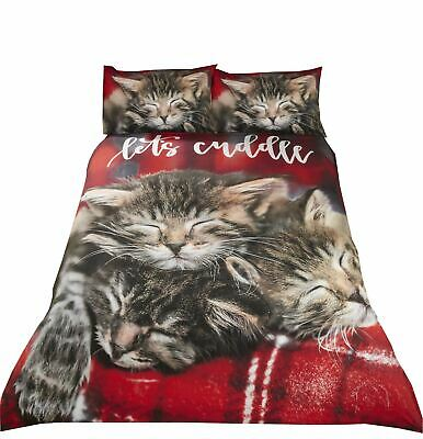 Cute Sleeping Cats Kittens Cuddle Red White Cotton Blend King Size Duvet Cover • 26.99£