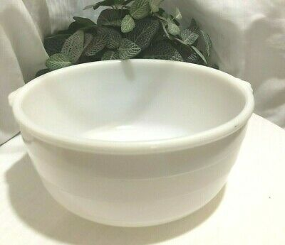 """$25 • Buy GE Milk Glass Mixing Bowl 10 1/2"""" With Handles, 4 1/2  D,  Double Ring Bottom"""
