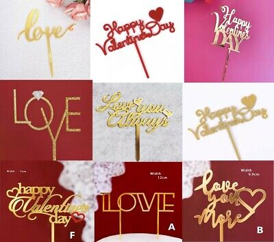AU7.95 • Buy Acrylic Gold Love Valentine's Day Anniversary Cake Topper Choices