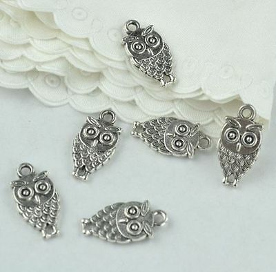 15x OWL Antique Silver Finish Double-Sided Charms - Jewellery Making / Craftwork • 2.99£