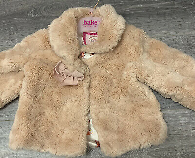 £16.50 • Buy Ted Baker Baby Girls Pink Faux Fur Coat Floral Lined Bow Details 12-18 Months