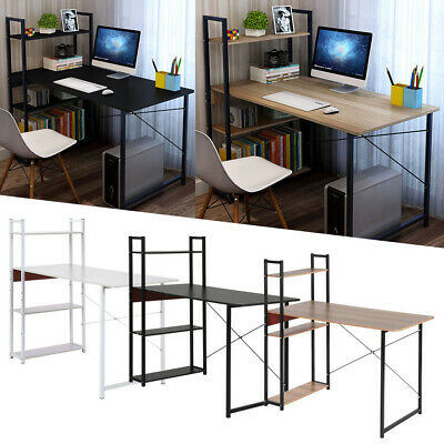 £29.99 • Buy Wood Computer Desk With 4 Tier Shelves Modern PC Laptop Study Table Home Office