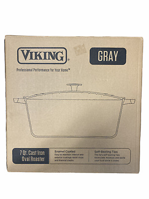 $ CDN114.17 • Buy Viking 7 Qt Enamel Coated Cast Iron Dutch Oven Gray