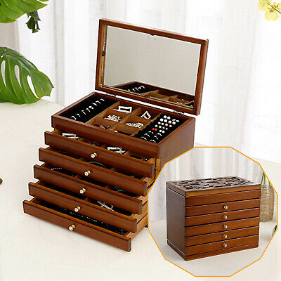 £35.99 • Buy Unique Wooden Table Top Trinket Jewellery Box Chest With 6 Drawers Solid Wood