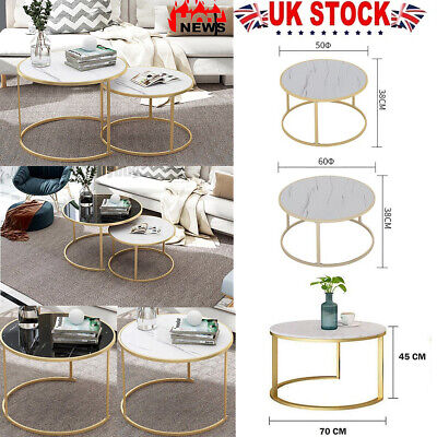 £29.99 • Buy Marble Vein Round Coffee Tables Sofa Side Nested End Tables Living Room Home UK~