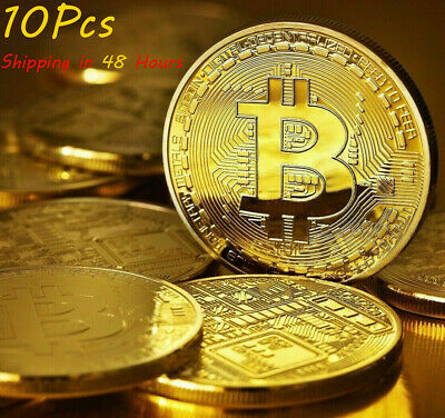 AU16.02 • Buy 10Pcs Gold Bitcoin Coins Commemorative 2021 New Collectors Gold Plated Bit Coin