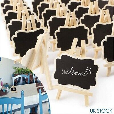 £8.53 • Buy 24 Mini Wooden Blackboard Wedding Party Chalkboard Sign Message Table Stand NEW