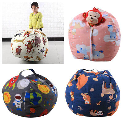 Toy Organizer Kids Adults Storage Bean Bag Stuffed Animal Canvas Chair Cover • 13.78£