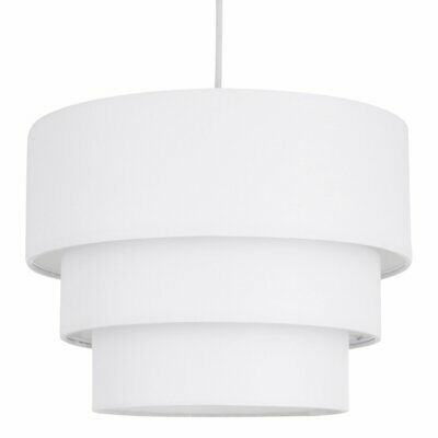 Modern White Ceiling Light Shade Pendant Easy Fit 3 Tier Fabric Lamp Shade • 17.99£