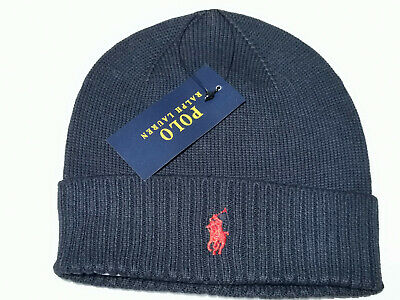£12.39 • Buy Ralph Lauren Polo Beanie Cap Hat Black Red Unisex One Size Brand New ON SALE
