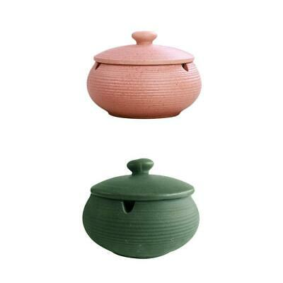2x Ceramic Ashtray With Lids Windproof Holder Ash Tray For Indoor Outdoor • 21.84£