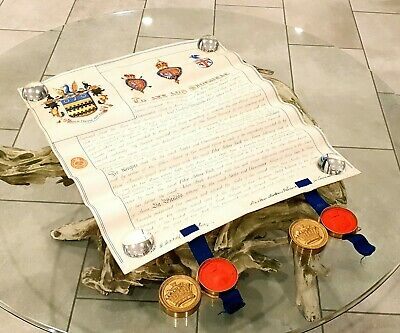 £1317.32 • Buy Queen Victoria England Presentation Vellum Document Arms Patent Nobility Royalty
