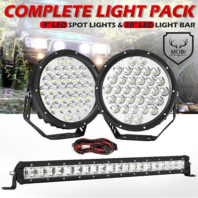 AU139.99 • Buy MOBI 9inch 59898LM Osram SPOT LED Driving Lights & Light Bar & Wiring Kit