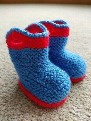 £2.99 • Buy Booties, Hand Made Knitted Wellington Style Baby Booties, Blue & Red