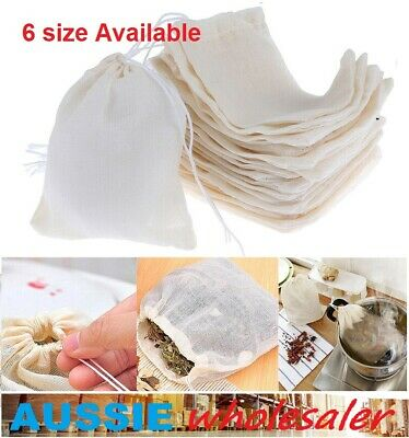 AU24.45 • Buy AU Reusable 100% Cotton Muslin Filter Bags Spices Herbs Tea Soup Drawstring