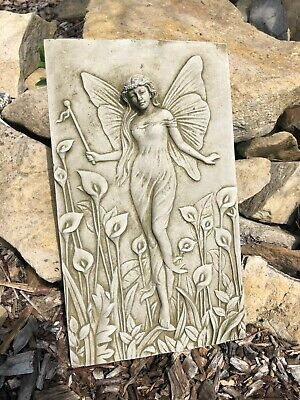 Lily Lady Stone Plaque Statue | UK Vintage Angel Fairy Garden Outdoor Ornament • 22.99£