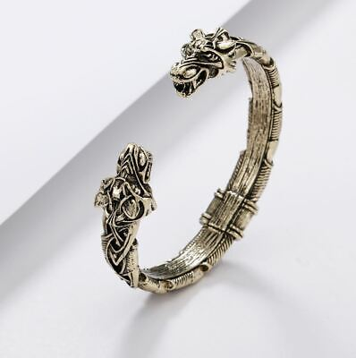 Norse Viking Wolf Head Open Bracelet - UK Seller • 6.99£