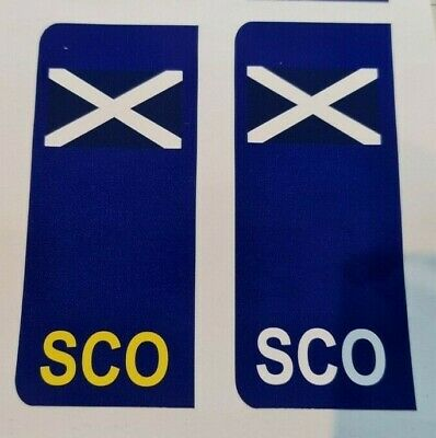 2 X Scotland Flag Number Plate Stickers European Road Trip Car Vinyl Scottish  • 1.99£