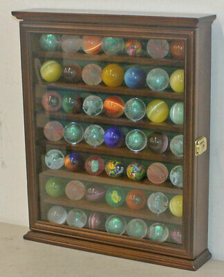 Marble/Bouncy Ball Display Case Rack Cabinet With Glass Door, Walnut Finish • 57.85£