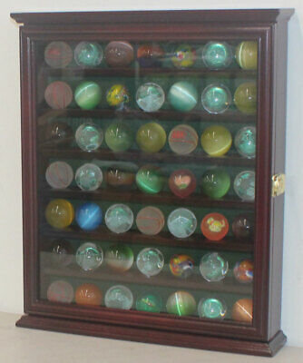 Marble/Bouncy Ball Display Case Rack Cabinet With Glass Door, Cherry Finish • 57.85£