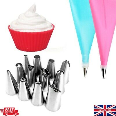 14Pc Reusable Icing Piping Cake Decorating Equipment Kit With Steel Nozzle Set  • 4.79£