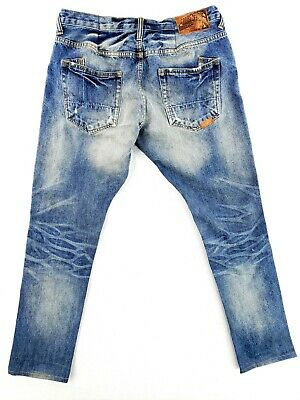 PRPS Japanese Selvedge Jeans 34x33 Barracuda Fit Button Fly Distressed Slim • 64.25£