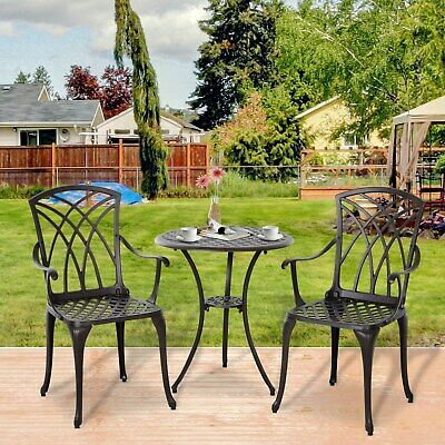£159.99 • Buy 3 Piece Coffee Table Chairs Outdoor Garden Furniture Set W/ Φ35mm Umbrella Hole