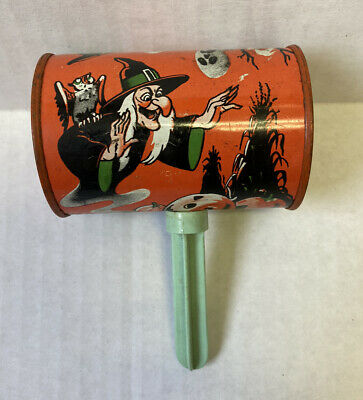 $ CDN44.39 • Buy Vintage Halloween Noisemaker Shaker Rare Print Black Cat Witch Ghost