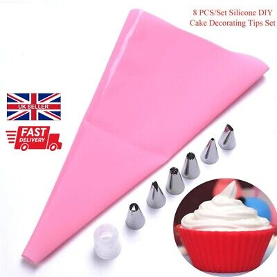 8Pcs/Set Icing Piping Cream Pastry Bag With Steel Nozzles Cake Decorating Kit  • 3.65£