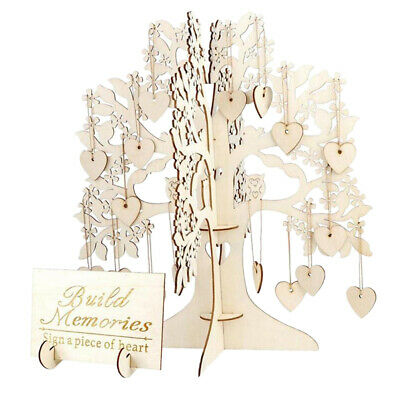 £10.13 • Buy Wood Wishing Tree Guest Sign Book Table Centrepiece Decor For Wedding