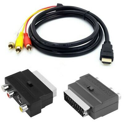 1080P With SCART To 3RCA S-video To 3 RCA AV Audio Cable Phono Adapter • 6.49£