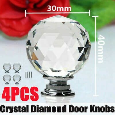 4PCS Clear Crystal Diamond Glass Knobs Cupboard Drawer Furniture Handle Cabinet • 3.99£