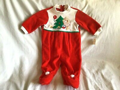 HESS'S DEPT. STORE Girl's Outfit 3-6 Months Christmas Red Velour Teddy Bear NWT • 28.94£